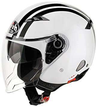 Airoh Casco Jet City One Flash, Mujer Hombre, City One, Blanco-Negro