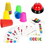 Youwo Quick Cups Game Beat The Bell Speed Cups Game Match Stack Family Game for Kids Age 3 and up, with 54 Picture Cards, 20 Stack Cups and a Bell.
