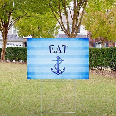 Nautical Stripes Double-Sided Weather-Resistant Yard Sign Eat CGSignLab 27x18 5-Pack