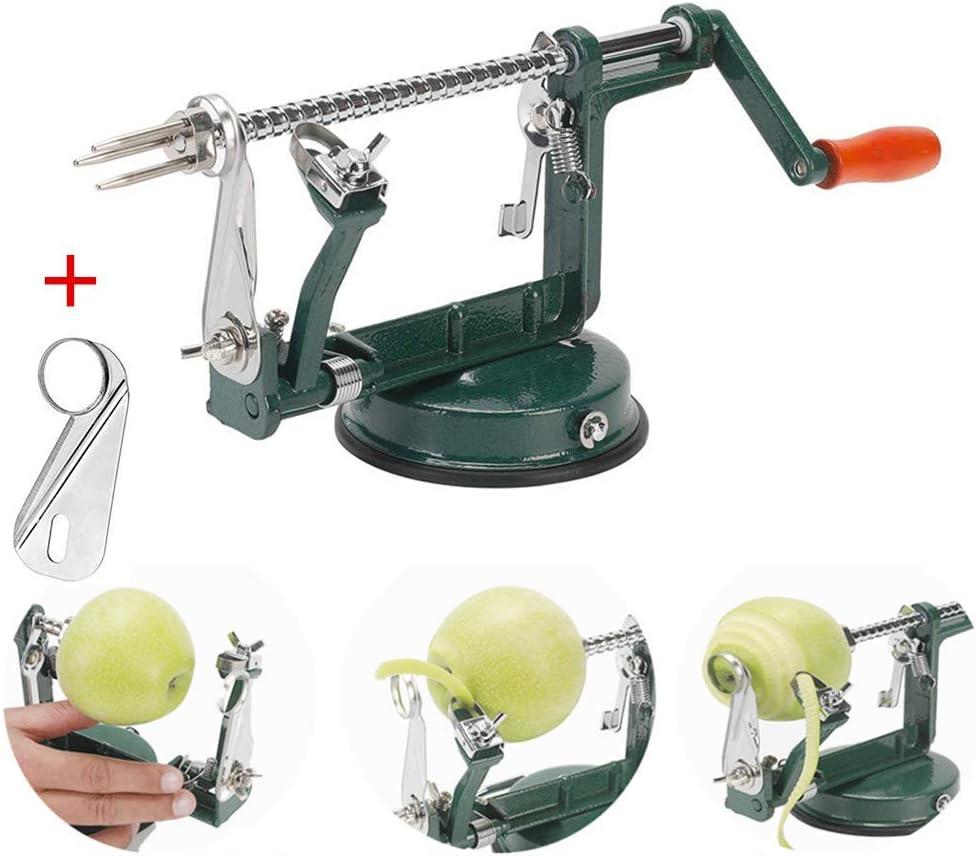 Apple peeler, Apple Peeler and Corer with Suction Base 3 in 1 Slinky Machine Durable Heavy Duty Die Apple Peelers Made In USA (Dark Green)