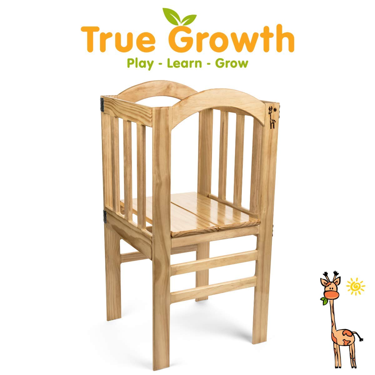 True Growth - True Tot Tower - Kids or Toddler Step Stool - Wood Construction - Varnished by True Growth Play - Learn - Grow