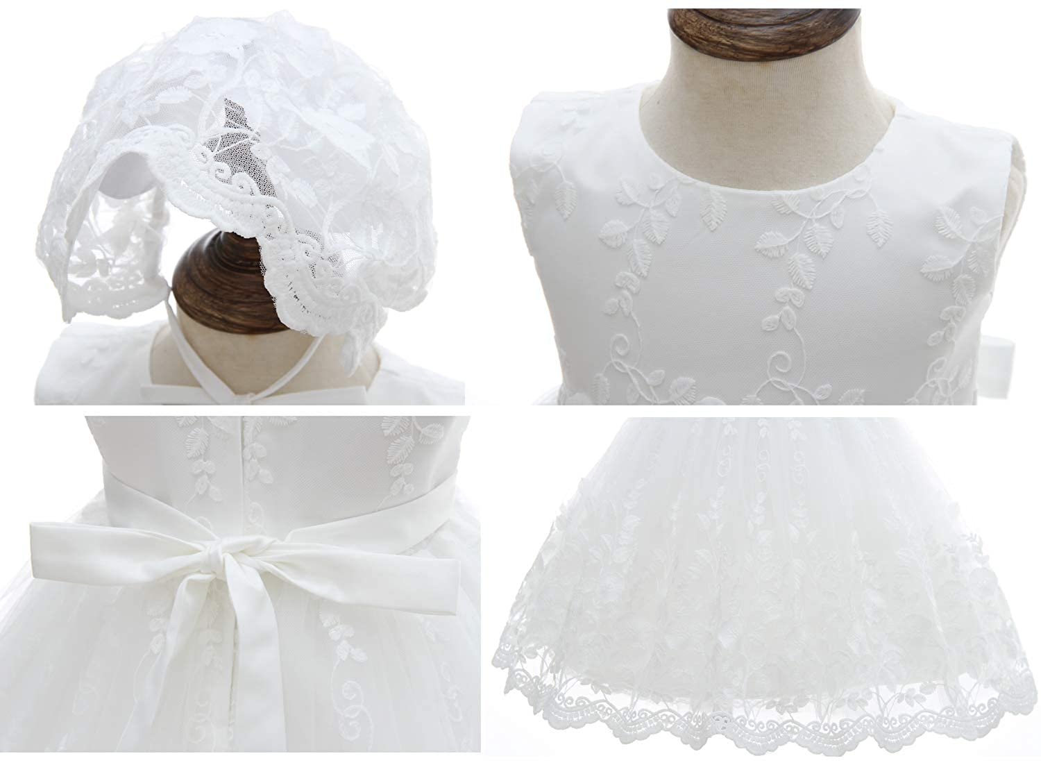 2ba3b5d09 Amazon.com: Silver Mermaid Baby Girl Christening Dress 2 Piece Floral Lace  Christening Gown Baptism Dress Set: Clothing
