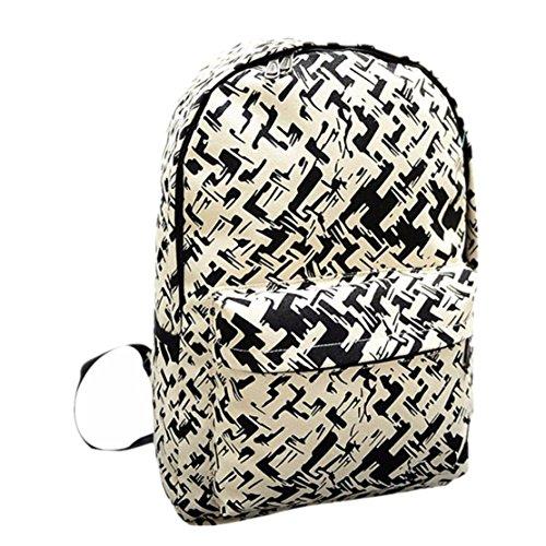 Clode® Las mujeres mochila lona bolsa de impresión de la escuela mochilas bandoleras Negro