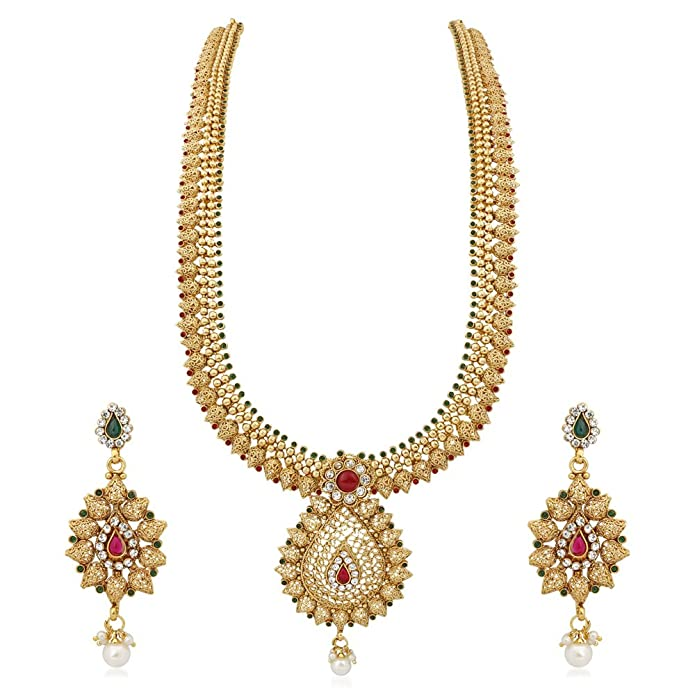 96de7eb57 Buy Reeva Gold Copper Necklace Earrings Jewellery Set For Women Online at  Low Prices in India | Amazon Jewellery Store - Amazon.in