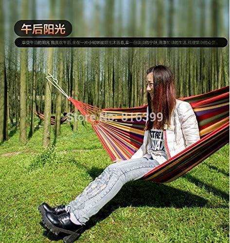 ShiXuan Envío Libre 280 * 150 cm Hamaca para Dos Personas, algodón Hamaca Turismo Camping Caza Tela de Ocio Rayas hamacas al Aire Libre: Amazon.es: Jardín