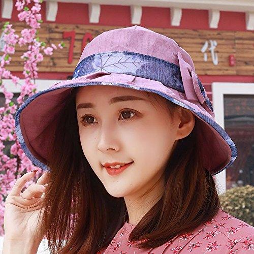 YXLMZ Señoras Mujeres Primavera Verano Sombreros Sombreros W hilo exterior  Playa Cap Visera plegable Rosa Sombreros 101a1b0407d
