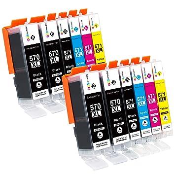 GPC Image 12 Pack PGI-570XL CLI-571XL Cartucho de Tinta Compatible ...