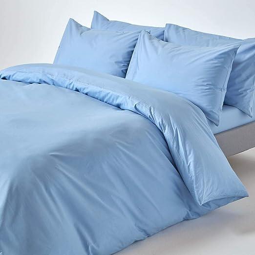 Homescapes Funda Nórdica Color Azul De 100% Puro algodón Egipcio ...