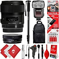 Sigma 35mm F1.4 ART DG HSM Lens for Canon EOS EF DSLR Cameras + 16GB 17PC Bundle for 80D, 77D, 70D, 60D, 60Da, 50D, 7D, 6D, 5D, 5DS, 1DS, T7i, T7s, T7, T6s, T6i, T6, T5i, T5, SL2 and SL1