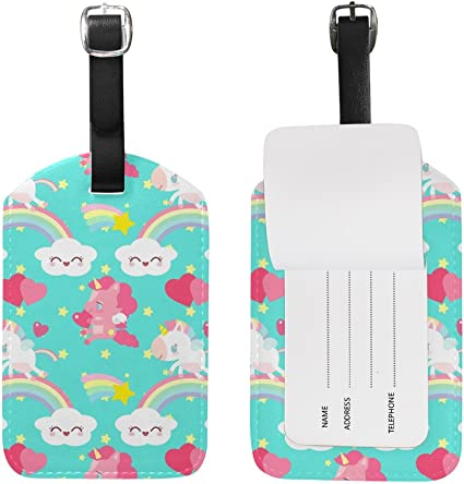 Chen Miranda Cute Deer Luggage Tag PU Leather Travel Suitcase Label ID Tag Baggage claim tag for Trolley case Kids Bag 1 Piece