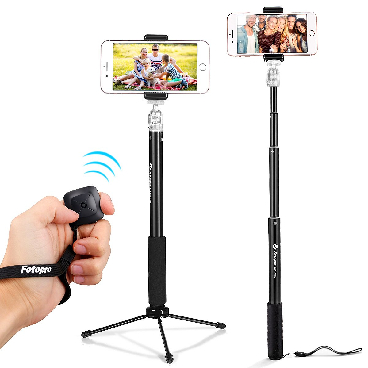 Fotopro 36'' Selfie Stick with Bluetooth Remote Cliker, Phone Tripod Mount, Removable Mini Tripod, Extendable Monopod Travel Tripod Stand for Android Smartphone iPhone Samsung Galaxy Huawei Gopro
