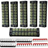 6 Pack Dual Row 8 Position Double Row Screw Terminal Strip 600V 25A + 6 Pack (3 Red,3 Black) 400V 25A 8 Postions Red/Black Pre Insulated Terminal Barrier Strip, Sold by Ltvystore