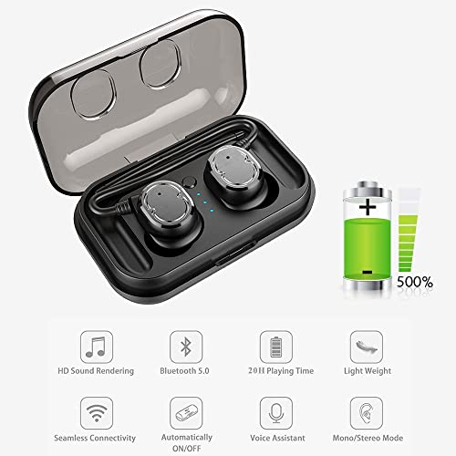 Debon Latest Bluetooth 5.0 Portable Wireless Earbuds IPX5 Waterproof Sweat Resistance CVC 6.0 Noise Canceling with Charging Case 20h Playtime TWS Deep Bass Headsets Hands Free For Workout Sport, Black