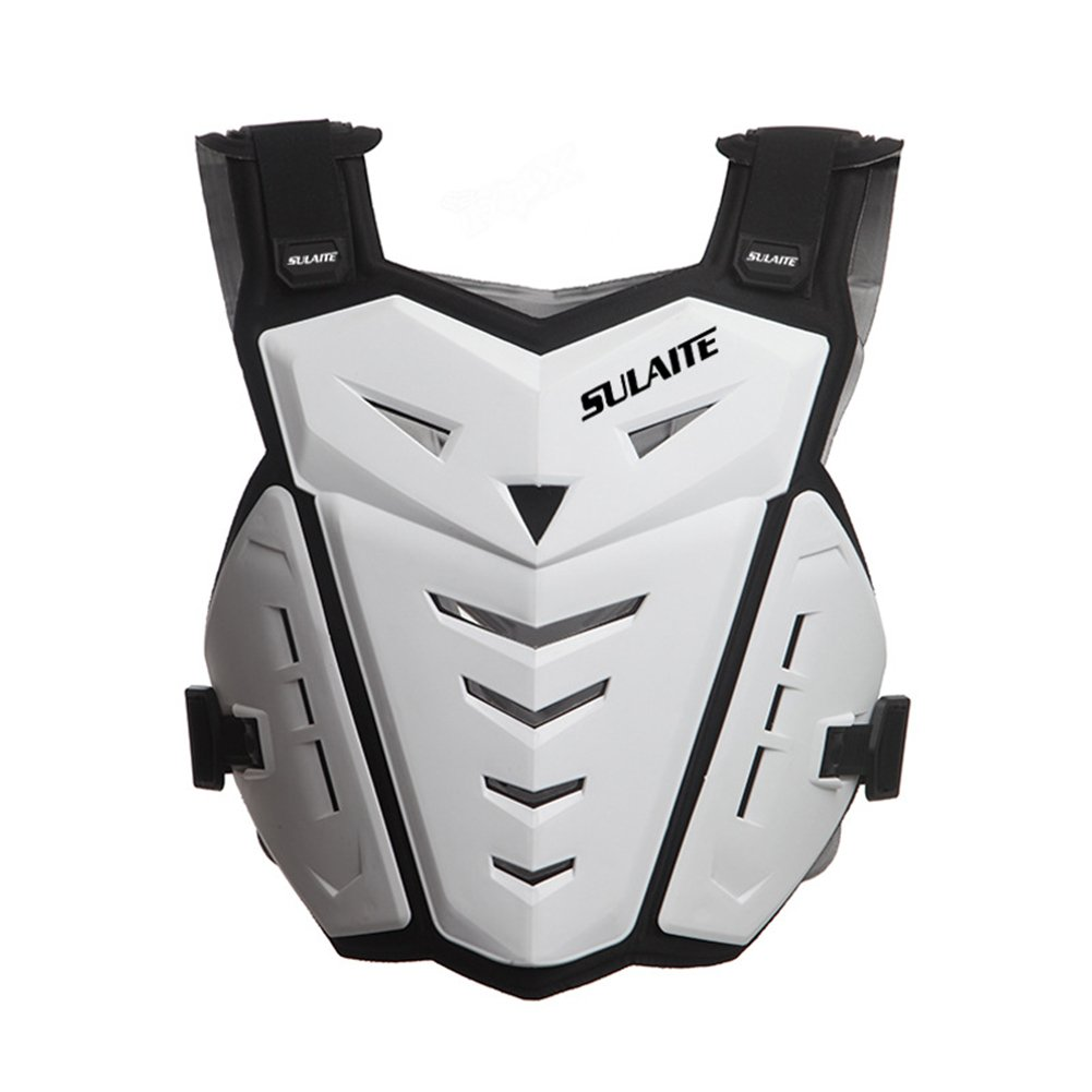 BARHAR Motorcycle Armor Vest Motorcycle Riding Chest Armor Back Protector Armor Motocross Off-Road Racing Vest (White)