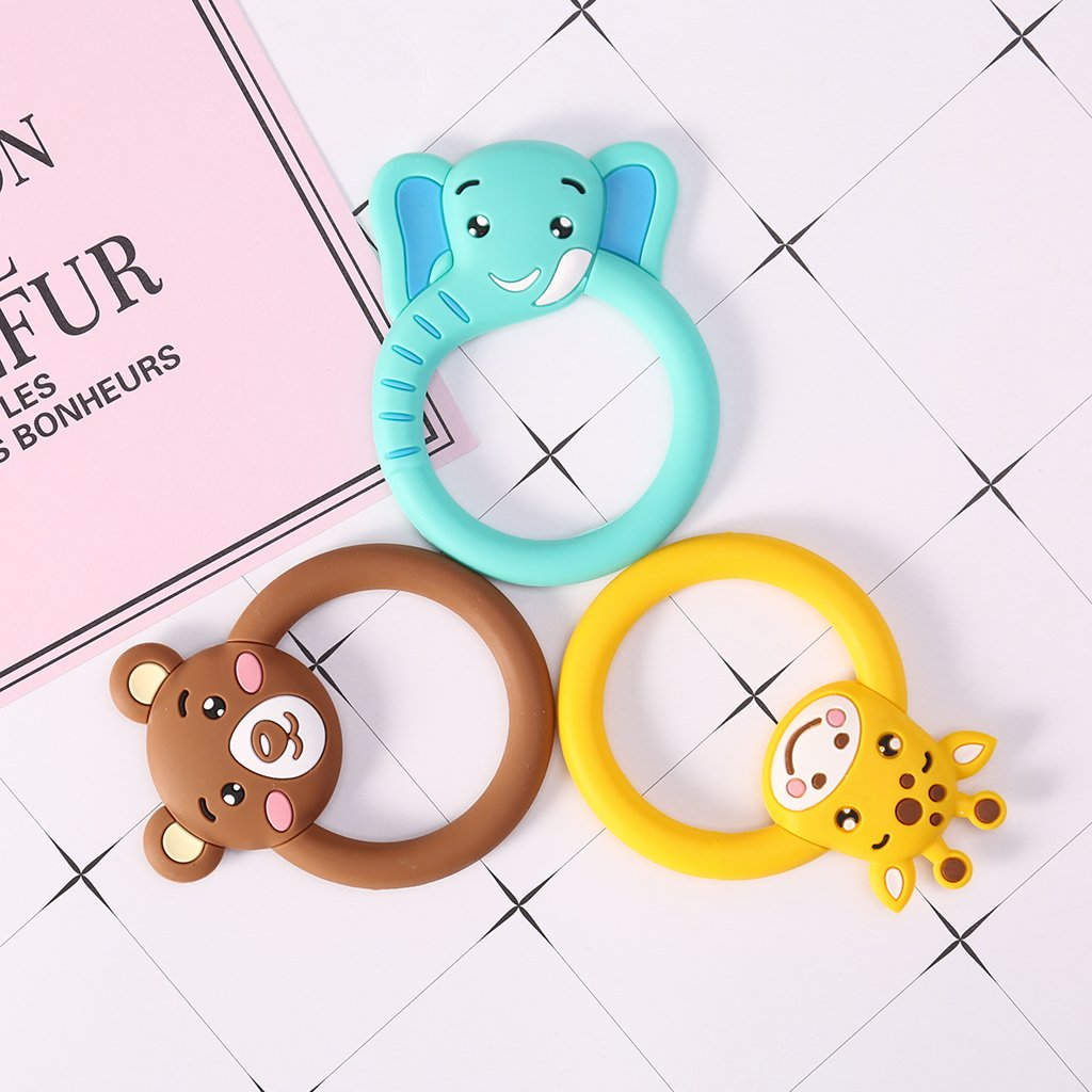 Amazon.com: Hacloser Baby Teether Pacifier Cartoon Animal Pattern ...