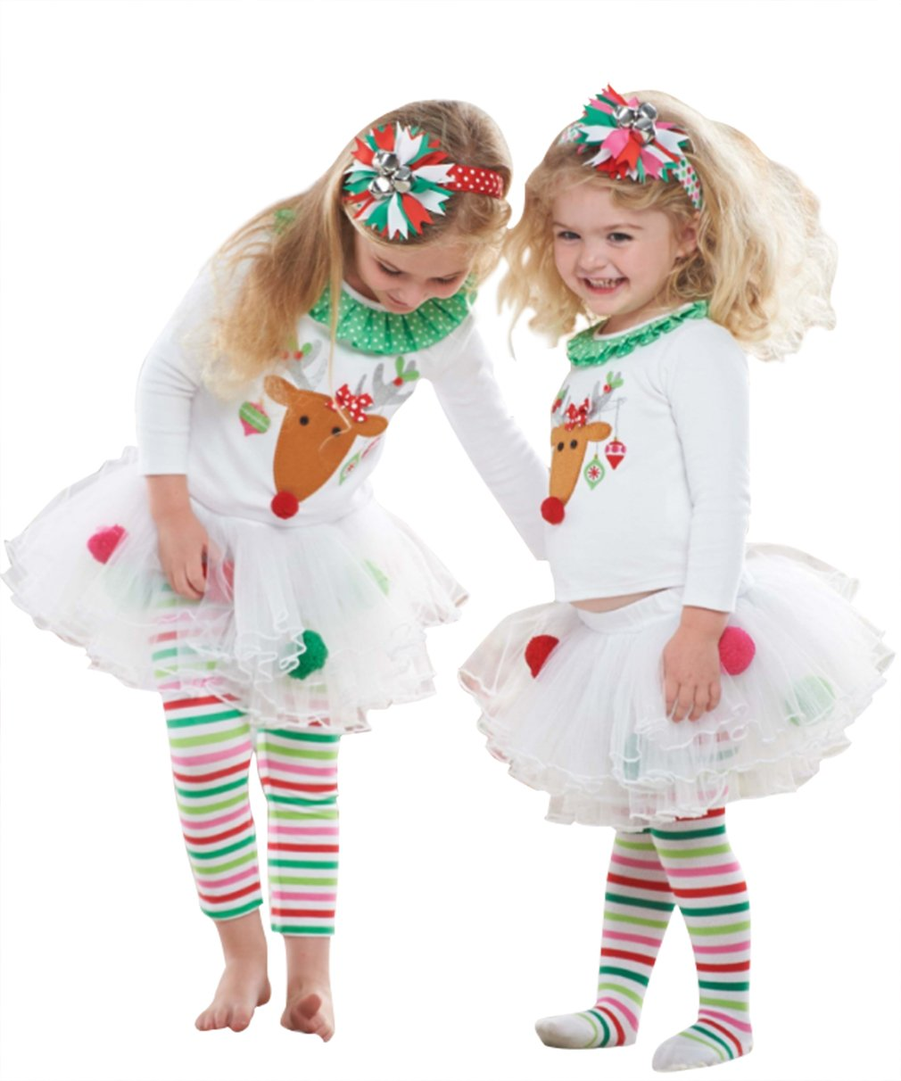 2Pcs Kids Baby Girls Christmas Deer Print T-shirt Tops+Striped Tulle Skirts Pants Clothes Outfits (2-3Years/100cm, White)