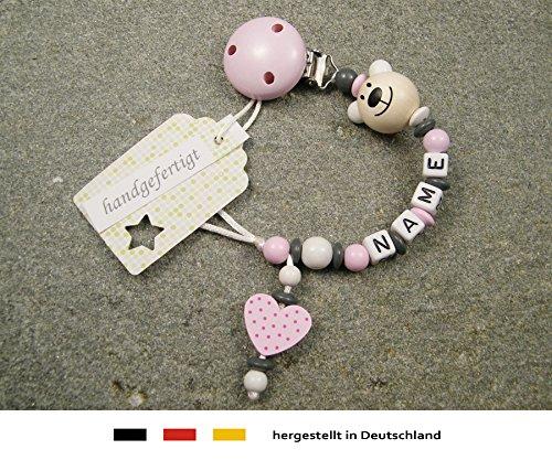 Baby SCHNULLERKETTE mit NAMEN | Schnullerhalter mit Wunschnamen - Mädchen Motiv Bär und Herz in rosa kleinerStorch