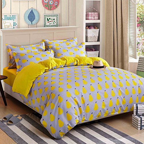 4pcs Bedding Sets Duvet Cover Fitted Bed Linen Pillowcase LZ Twin Full Queen No Comforter City Finding Nemo Lavender Fuilt Pear Design for Bedding Room (Fruit Pear, Yellow, Twin, (Modern Fruit Pear)