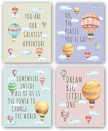Hpniub Inspirational Quotes Art Prints Set Of 4 8 X10 Balloon Clouds Canvas Poster Creative Kids Wall Art For Kids Bedroom Nursery Classroom No Frame Posters Prints