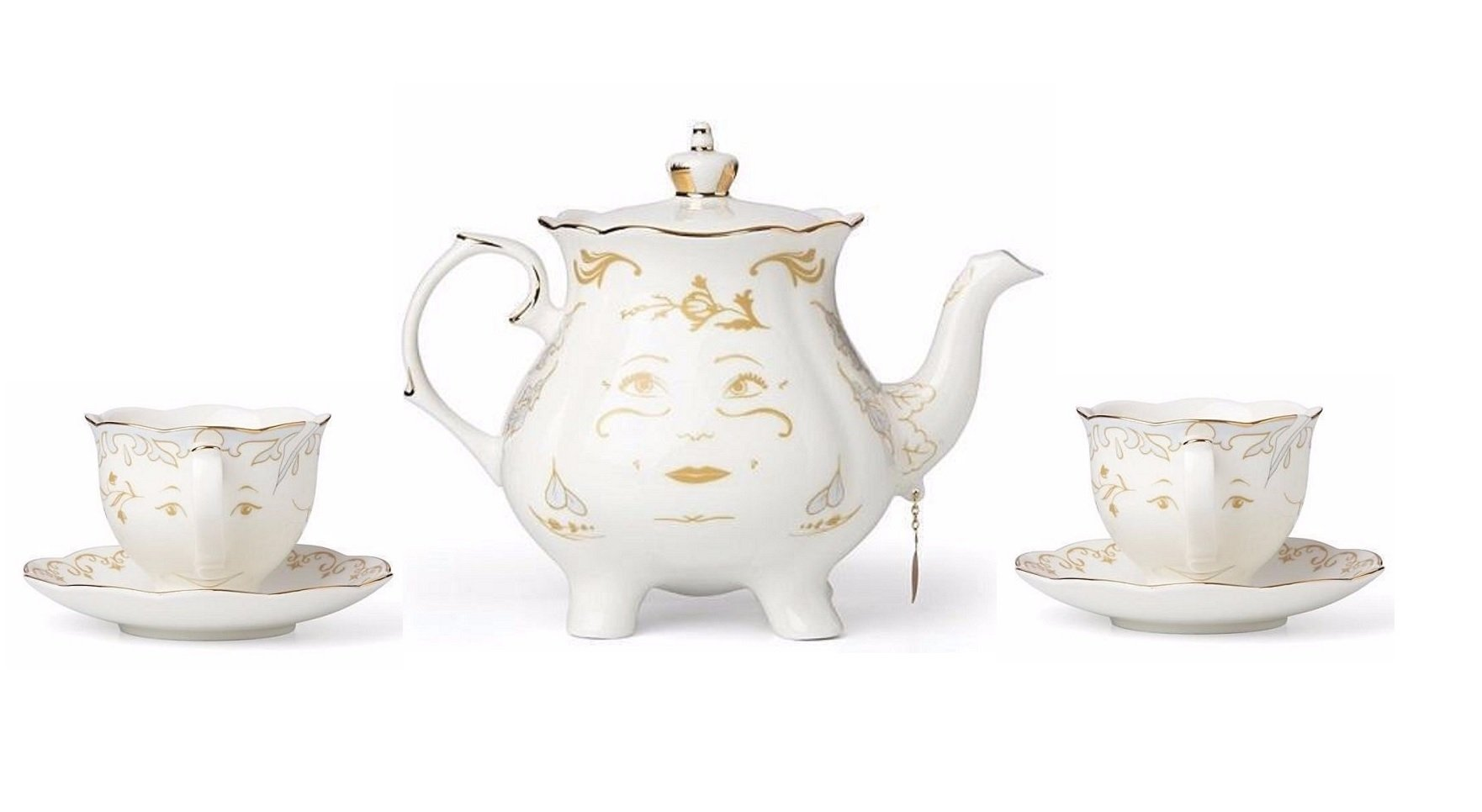 Lenox Disney Mrs Potts & Chip Figurines Beauty and The Beast Tea For Two Teapot Teacups Saucers