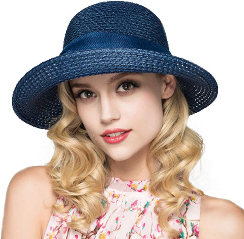 Kqpoinw Sombrero para El Sol, Gorra de Paja para Mujer Sombrero Plegable Sombrero Ancho de ala Ancha Sombrero para El Sol Sombreros de Playa de Verano para Mujeres
