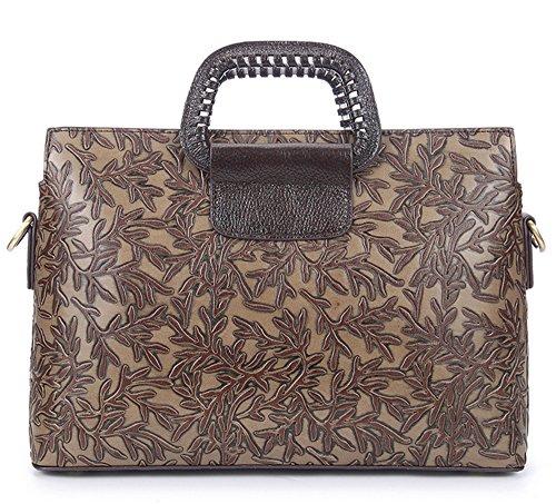 Moda retro XinMaoYuan barrido artesanal bolso de cuero Repujado Bolsa bandolera cartero,paquete Silver Café