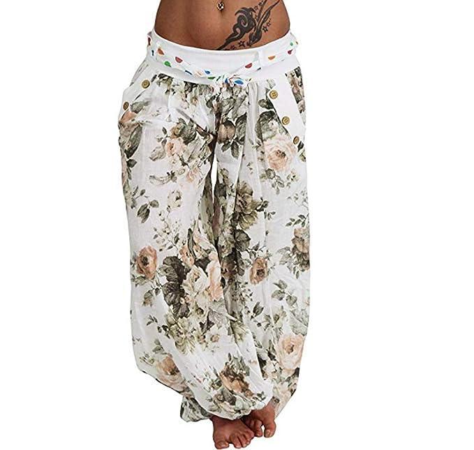 Hanomes Pantalones Pantalones De Bohemia para Mujer Harem ...