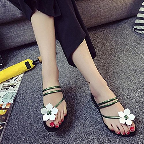 Saingace Frauen Bohemia Dame Flower Weave Sandalen Strand Peep-Toe Flip Flops Schuhe Hausschuhe Grün