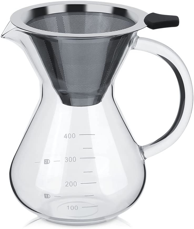 Cafetera de filtro manual de cristal de acero inoxidable, filtro permanente con escala de 400 ml: Amazon.es: Hogar