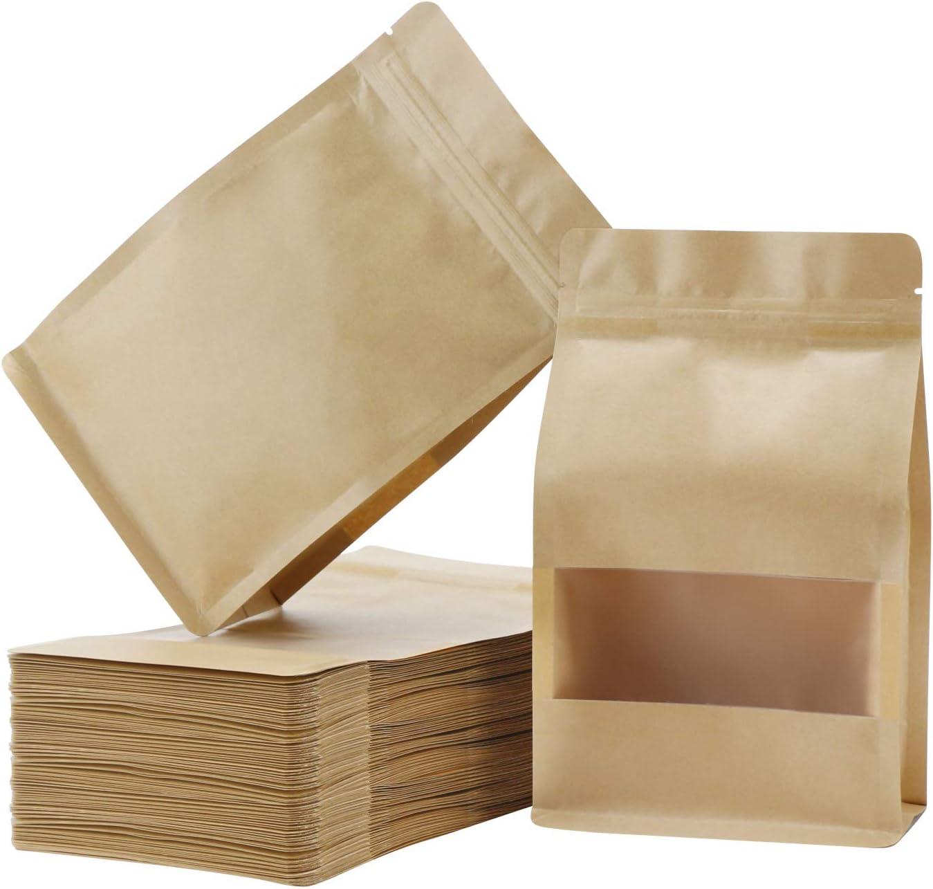 Stand Up Bags, Eusoar 50pcs Kraft Zipper Matte Window Reusable Sealing All-Purpose Food Storage Bags Reclosable Lock with Tear Notch for Nuts Beans Tea (6.3