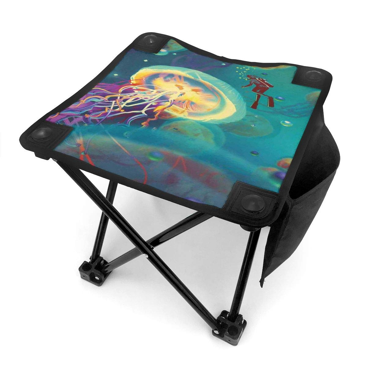 Folding Camping Stool Portable Outdoor Mini Chair Small Seat,Giant Jellyfish and Diver in The Sea Underwater Submarine Aquatic Artwork Print,Barbeque Stool for Fishing BBQ Beach,Travel by Jolly2T
