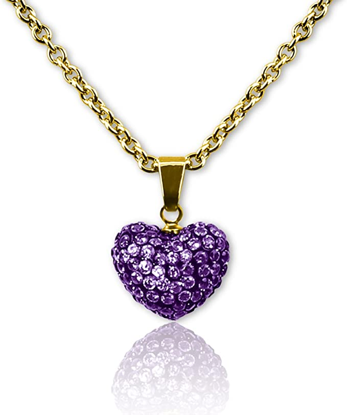 Heart Necklaces For Girls Gifts for Daughter Color Crystal Necklace Heart Pendant Necklace Girls Jewelry Hypoallergenic Crystal Heart Necklace