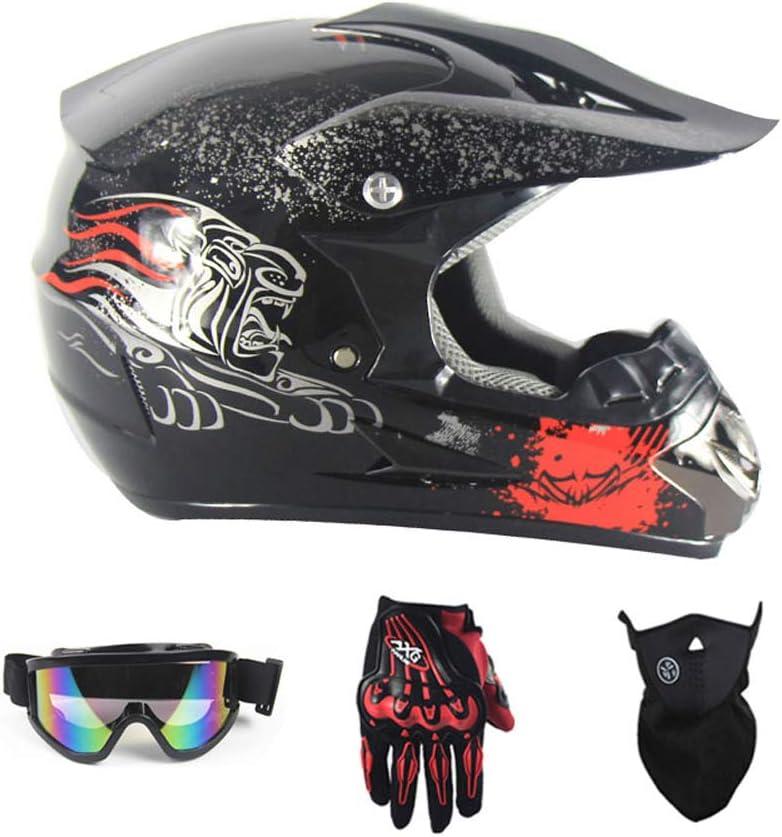 Motocross Racing Bike Helm Vier Jahreszeiten universal Handschuhe, Brille, Maske, 4-teiliger Satz Jugend Kinder Dirt Bike Helme Motorradhelm