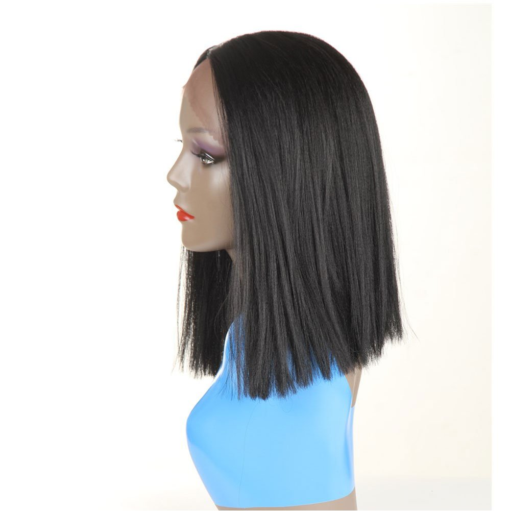 Short Bob Synthetic Lace Front Wigs for Women L Part Black Color Yaki Straight Heat Resistant Fiber Black Hair Wig (1B) by HUA (Image #5)