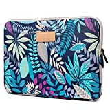 CoolBELL 15.6 Inch Laptop Sleeve Case With Colorful Leaves Pattern Protective Ultrabook Sleeve Case Macbook Canvas Bag For Acer/Asus/Dell/HP/Lenovo/Macbook Pro/Macbook Air/Women/Men/Teens,Blue