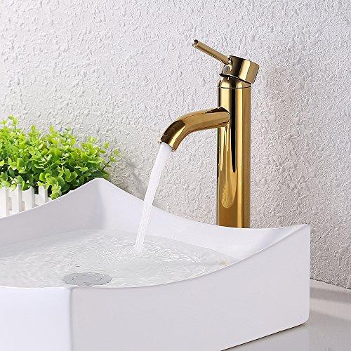 Washbasin 1 Tap (KES Faucet Bathroom Sink Brass Single Hole Single Handle Lavatory Faucet Wash Basin Faucet Tap Lead-Free, Titanium Gold, L3100BLF)