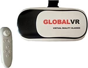 """Globalvr NEWEST VERSION VR GLASS 2nd BIG LENS Virtual Reality Headset 3D Video Movie Game Glasses +Remote Controller For 3.5""""-6"""" IOS Android Smartphones iPhone 6/6plus 5/5S Samsung Galaxy S6/Edge"""