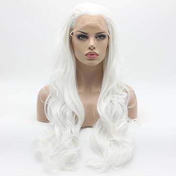 21876518a Amazon.com : Lushy Wavy Long White Wig Half Hand Tied Heat Friendly Full  Density Synthetic Lace Front Wig : Beauty