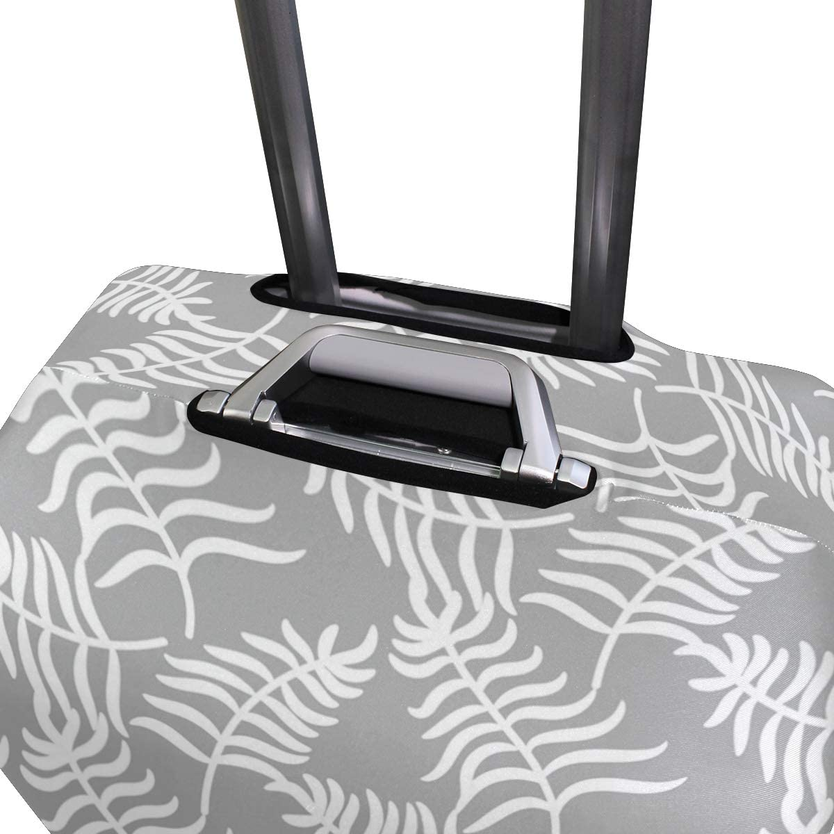 White Palm Leaves On Gray Travel Luggage Protector Case Suitcase Protector For Man/&Woman Fits 18-32 Inch Luggage
