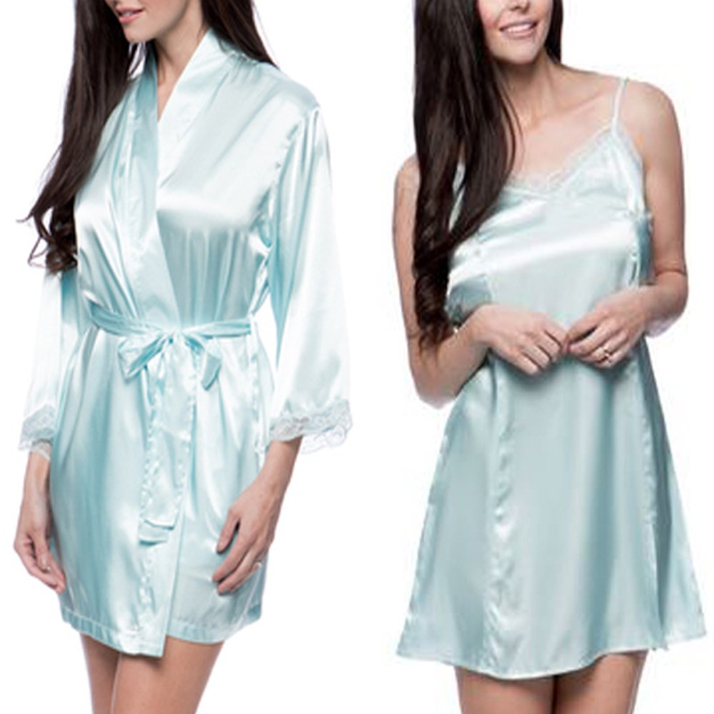 Aegean Apparel Women's Satin Silky Sleepwear & Loungewear 2-Pc Robe Chemise Set (Small, Cool Blue Robe-Cool Blue Chemise)