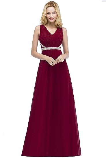 47ae784bde9 Robe de Soirée Vintage Femme Col V avec Ruches Longe Maxi Robe Femme Chic  Mousseline Longue