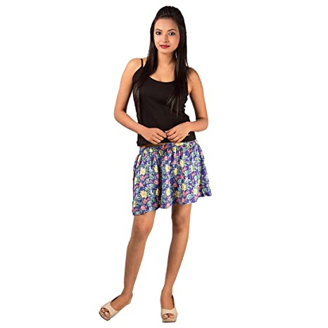 GOODWILL Impex Women's Casual Wear Printed Short Viscose Skirt