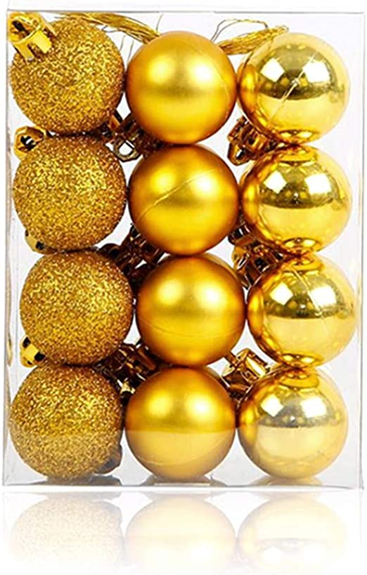24Pcs Glitter Christmas Balls Baubles Xmas Tree Hanging Ornament Home Decor New