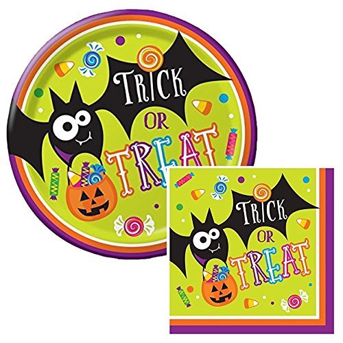 Gone Batty Halloween Themed Lunch Napkins & Plates Party Kit for 8