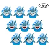 48pcs Shark Cupcake Wrappers Toppers Kids Party Birthday Favors Cake Decorations