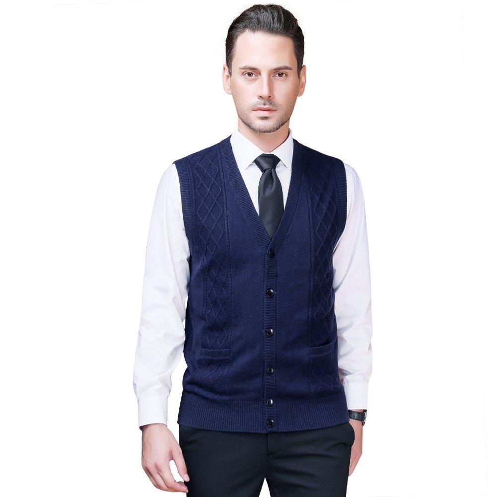 Zicac Men's V-Neck Jacquard Vest Knitwear Sweater Waistcoat (M, Navy Blue#3) by Zicac