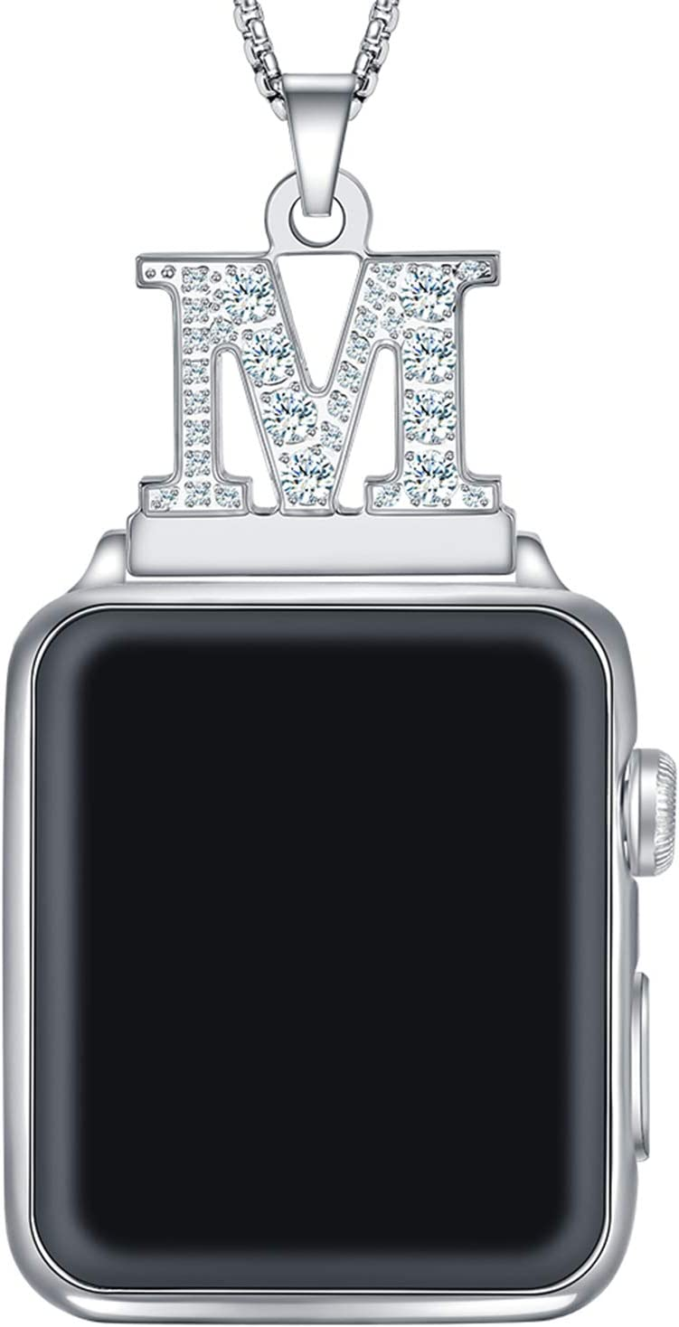Callancity 2in1 Crystal Diamond Alphabet Letter A-Z Necklace Pendant Watch Connector Adapter Stainless Steel Platinum Plated Box Chain Compatible for Apple Watch Series 5/4/3/2/1 42mm 44mm (M)