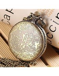 Antique Vintage Steampunk Bronze Retro Quartz Pendant Pocket Watch With Chain Necklace Rib B