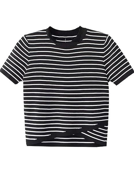d83ee762b94b0 Amazon.com  Women Teen Girls Striped Cute Crop Top Belly Shirt Summer Tee T- Shirt Blouse Sale  Clothing