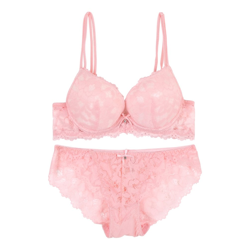 Doubleer Lace Embroidery Bra Set Push up Comfortable Bra Knickers Lingerie Sets for Women